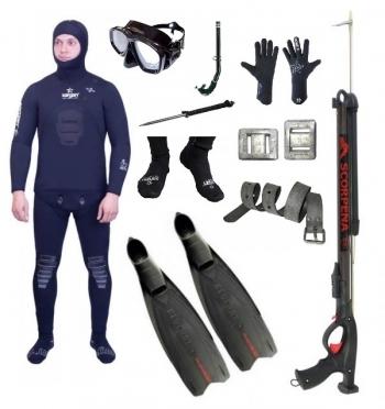 """Готовый комплект снаряжения для подводной охоты """"Начальный"""" 7 мм."""