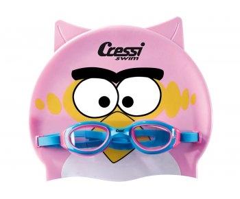 Комплект Cressi (очки желтые + плавательная шапочка с рисунком) детские