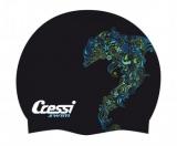 Шапочка для плавания Cressi FANTASY силиконовая, цвета с рисунком в ассортименте (черный, серый, белый)